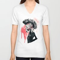 punk V-neck T-shirts featuring PUNK by Ali GULEC