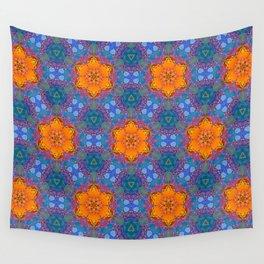 Orange Flowers Pattern Wall Tapestry
