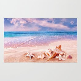 Seashells on the beach Rug
