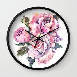 watercolor roses. bridal bouquet Wall Clock