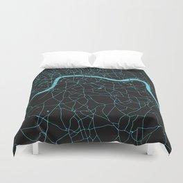 Black on Turquoise London Street Map Duvet Cover