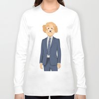 poodle Long Sleeve T-shirts featuring Posing Poodle by drawgood
