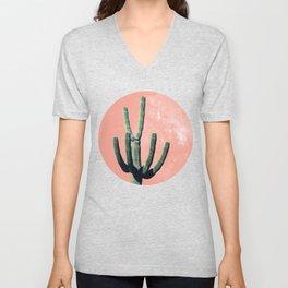 Cactus Mexican Succulent Boho Mexico Desert Pink Tropical Galaxy  Unisex V-Neck