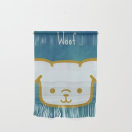 Woof - Dog Graphic - Chalkboard Inspired Wall Hanging