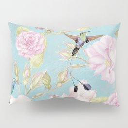 Pastel Teal Vintage Roses and Hummingbird Pattern Pillow Sham