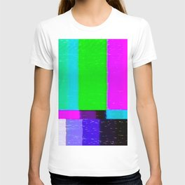 A distorted tv transmission or VHS tape, a badly eaten noisy signal of SMPTE color bars (a television screen test pattern). Vintage photo. Retro background. T-shirt