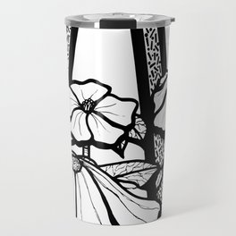 Black and White Flowers In The Sun Travel Mug