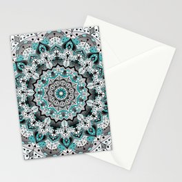 Teal and white floral mandala Stationery Cards