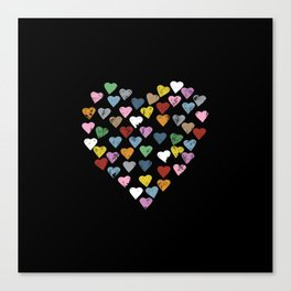 Distressed Hearts Heart Black Canvas Print
