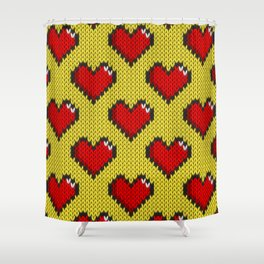 Knitted heart pattern - yellow Shower Curtain