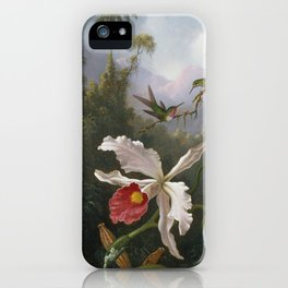Martin Johnson Heade - Two hummingbirds above a white orchid iPhone Case
