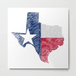 Texas Map Grunge and Flag Metal Print