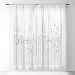 Minimal Line Art Woman with Hands on Face Sheer Curtain