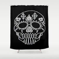 led zeppelin Shower Curtains featuring LED Skull by Max Wellsman