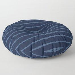 Hand Drawn Stripes Pattern Indigo Blue Grunge Floor Pillow