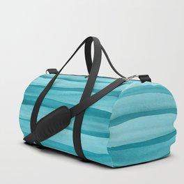 Teal Watercolor Lines Pattern Duffle Bag