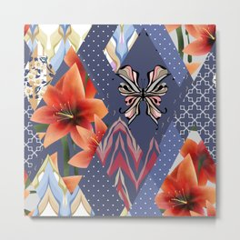 """A series of """"Favorite patchwork"""". Lilies with blue fabrics. Metal Print"""