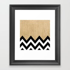 BURLAP BLOCK CHEVRON Framed Art Print