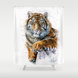 Tiger watercolor Shower Curtain