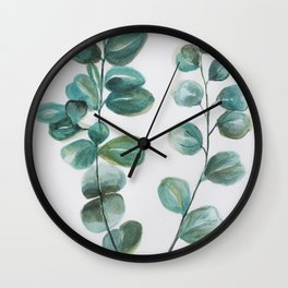 Eucalyptus leaves, blue green round leaves Wall Clock
