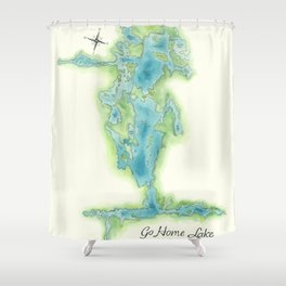 Go Home Lake - Nature Map Shower Curtain