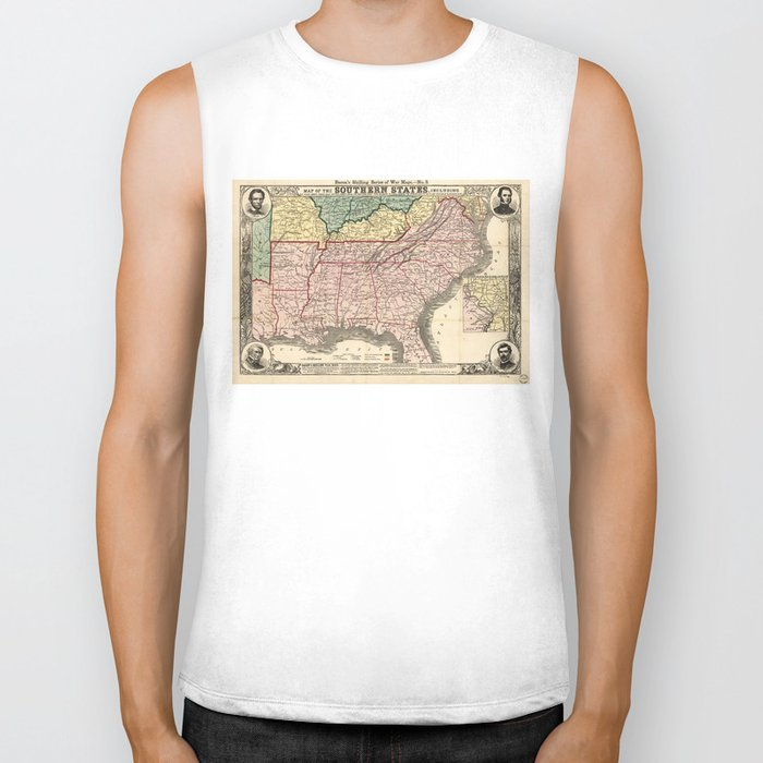 Map of the Southern States during the Civil War (1863) Biker Tank