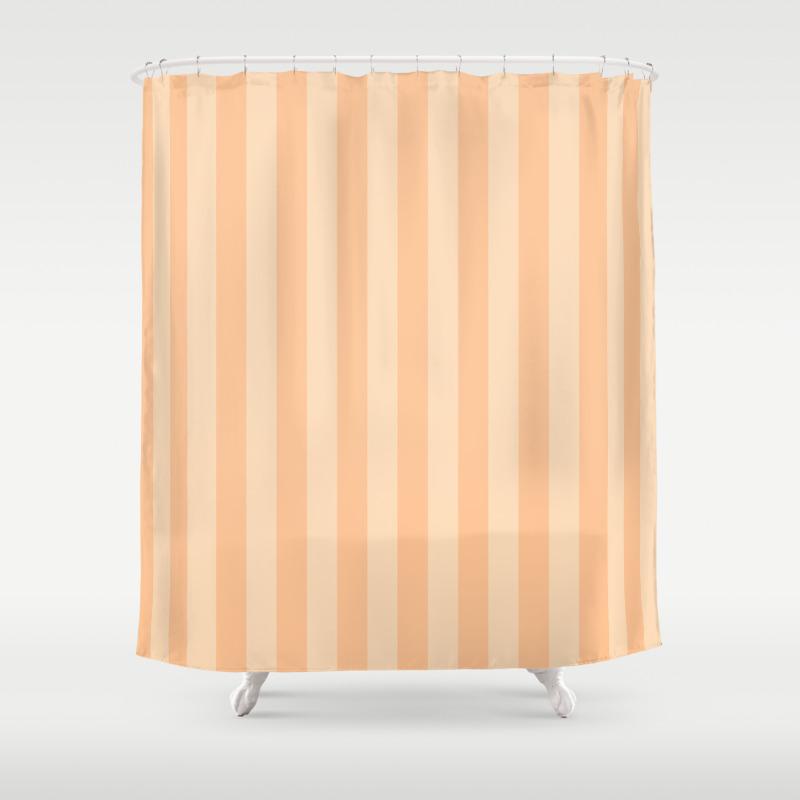 Pastel Melon Vertical Stripes Shower Curtain