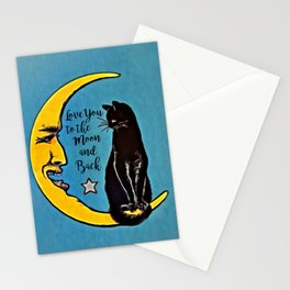 LOVE YOU TO THE MOON & BACK - Black Cat & Moon Stationery Cards