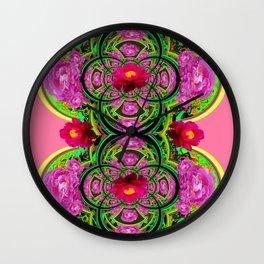 PINK PEONIES GREEN ABSTRACT GARDEN ART Wall Clock