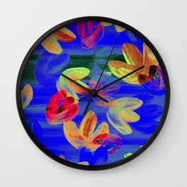 Vibrant Acrylic Painting Layered Tulips Floral Pattern Neon Blue, Red Orange, Lime Yellow, Summer Party Vibe Wall Clock