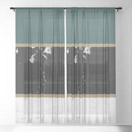Marble Mix Stripes #4 #black #white #green #gold #decor #art #society6 Sheer Curtain
