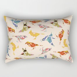 Vintage Wallpaper Birds Rectangular Pillow