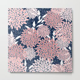 Floral Prints and Leaves, Navy Blue and Pink, Art for Walls Metal Print