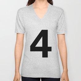 Number 4 (Black & White) Unisex V-Neck