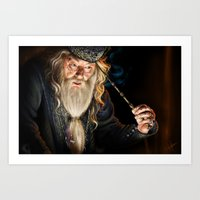 dumbledore Art Prints featuring Dumbledore by Lara Cremon