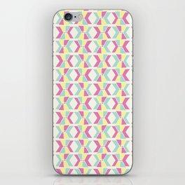 Magenta, Yellow, and Turquoise geometric hourglass pattern iPhone Skin