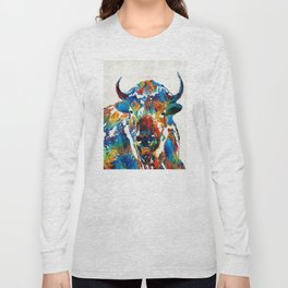 Colorful Buffalo Art - Sacred - By Sharon Cummings Long Sleeve T-shirt
