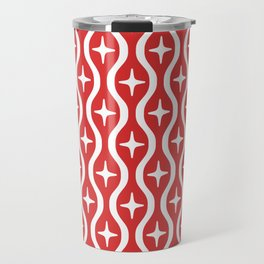 Mid century Modern Bulbous Star Pattern Red Travel Mug