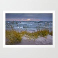 Sunset Photograph of a Dune with Beach Grass No 0192 Art Print