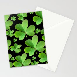 Clovers on Black Stationery Cards