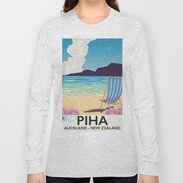 Piha New Zealand vacation poster Long Sleeve T-shirt