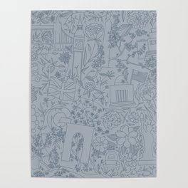 DC NYC London - Powder Blue Poster