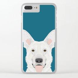 German Shepherd - White cute dog portrait Clear iPhone Case