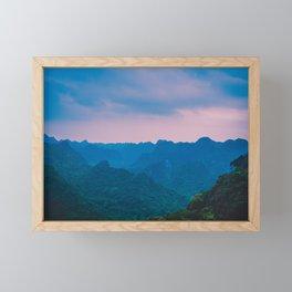 Misty Hills under the Evening Sky. Nature Photography. Vietnam, Asia. Framed Mini Art Print