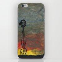 kansas iPhone & iPod Skins featuring windmill kansas by BryanCorbinArt