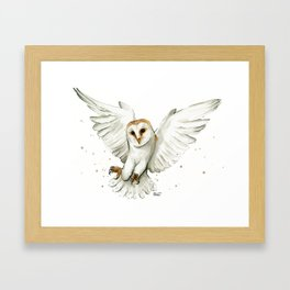 Barn Owl Flying Watercolor | Wildlife Animals Framed Art Print
