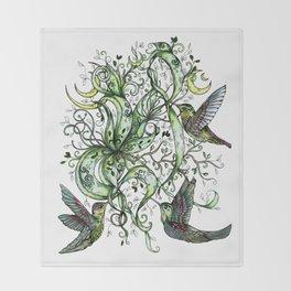 Hummingbird Garden Party Throw Blanket