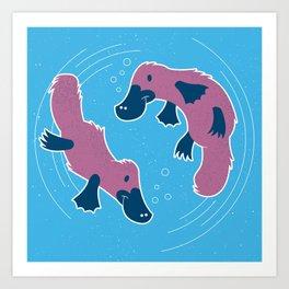 Platypus Friends Art Print