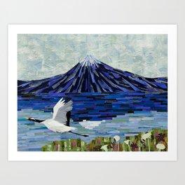 Mt. Fuji and Crane Art Print
