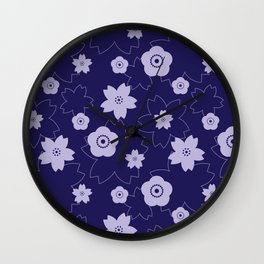 Sakura blossom - midnight blue Wall Clock
